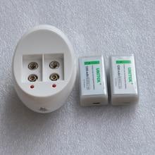 UNITEK USB 9 V 6F22 batería de iones de litio recargable 1200 mAh células de iones de litio + cargador para micrófono inalámbrico de humo alarma multímetro