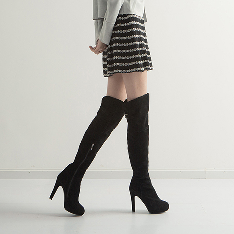 Women Sexy Genuine Leather Over Knee Length Long High Heels Slim Riding Boots Winter Thigh Boots Pumps Shoes Black Ladies Botas