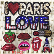 9pcs Sexy Lip Paris Love Sequins Patches For Clothes Embroidered iron or Sew On Patch Clothing Accessories Motif Applique Badge