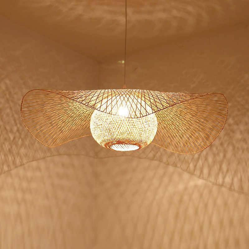 Yeni çin bambu dokuma hasır Rattan gölge kapağı tavan lambası E27 lambalar fenerler oturma odası otel restoran koridor lambası