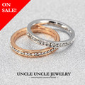 On Sale! Rose Gold Plated Austrian Rhinestones Fully Setting Classic Simple 3mm Woman Finger Knuckle Ring 18krgp Wholesale