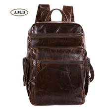 J.M.D 100% Guarantee Genuine Leather Men's Fashion Large Capacity Travel Tote Fits for 15 inches Laptop Bag Backpack 7202C