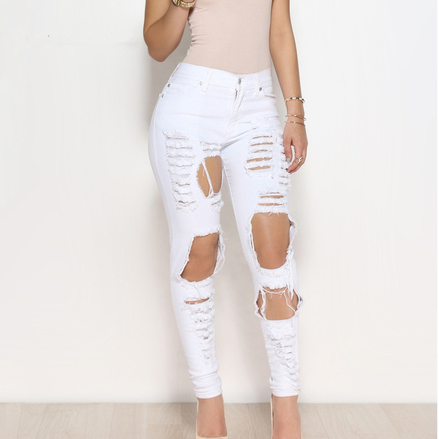 b2645c78a434 Sexy big holes ripped jeans tassels skinny high waisted pencil pants women  trousers black white plus size womans feminino
