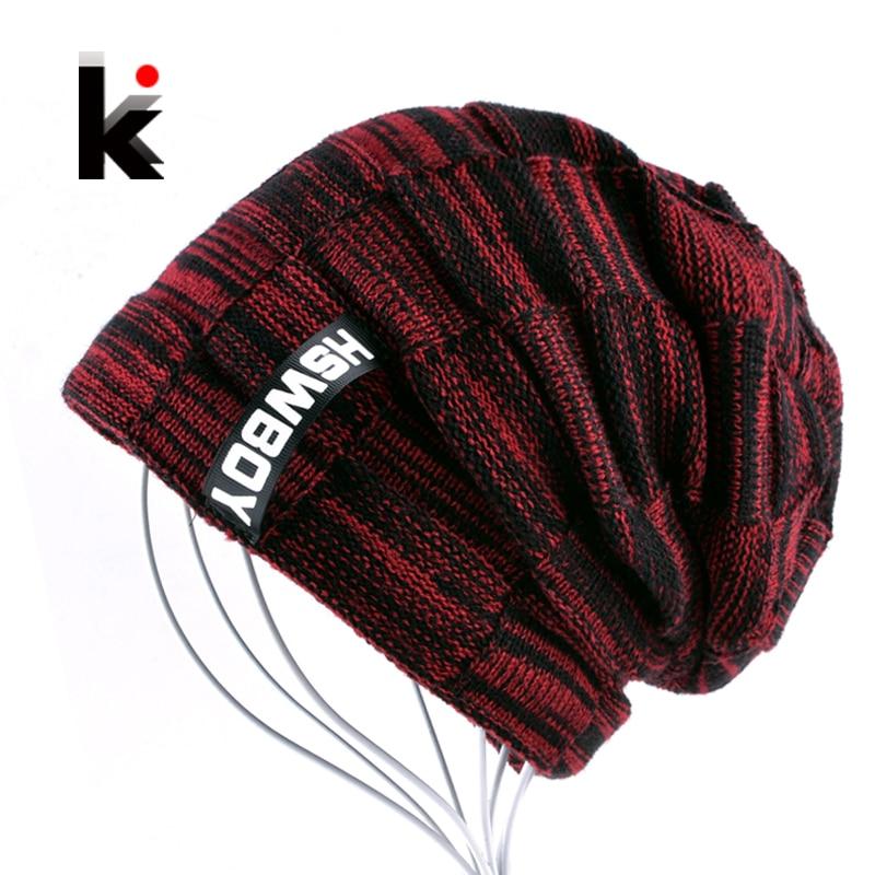 2018 Autumn And Winter Bonnets Hat For Men Women Knitted Plaid   Beanies     Skullies   Keep Warm Add Velvet Caps Men Bonnet Touca Muts