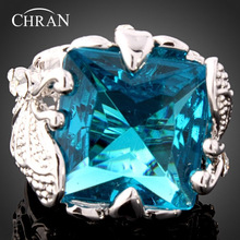 Chran Exquisite Silver Plated Sparkling Crystal Promised Rings Luxury Square Blue Stone for Women