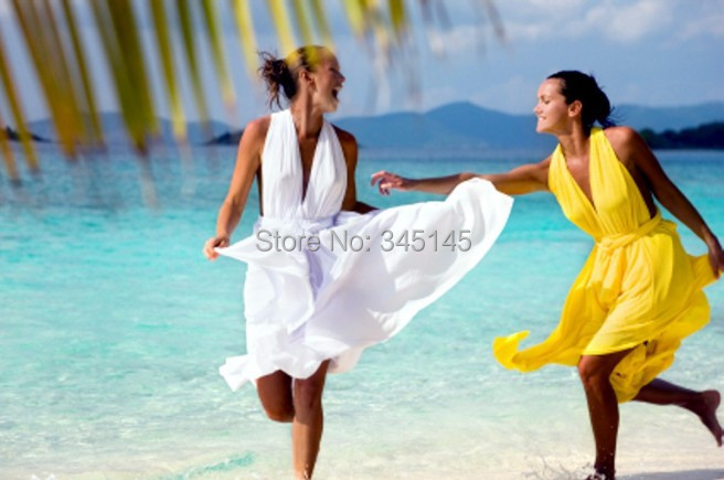 Top Quality A Line Halter Backless Beach   Bridesmaid     Dresses   Pleats Most Popular party Gowns Tea Length