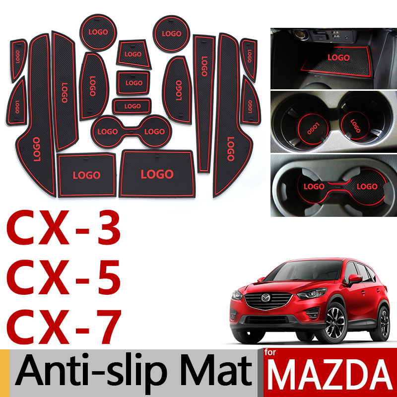 Anti-Slip Rubber Gate Slot Cup Mat for Mazda <font><b>CX</b></font>-3 <font><b>CX</b></font>-<font><b>5</b></font> <font><b>CX</b></font>-7 CX3 CX5 CX7 <font><b>CX</b></font> 3 <font><b>5</b></font> 7 2014 2015 2016 2017 <font><b>2018</b></font> Accessories Stickers image