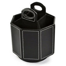 أسود بولي Leather جلد 360 درجة تدوير منظم/حامل في شكل المثمن للهاتف المحمول التحكم عن بعد/تحكم القلم مقص