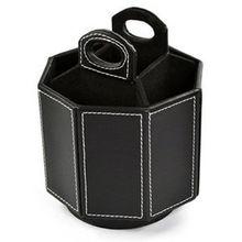 Organizador giratorio de cuero PU negro de 360 grados, soporte en forma de Octágono para Control remoto de teléfono móvil, tijeras para bolígrafo controlador
