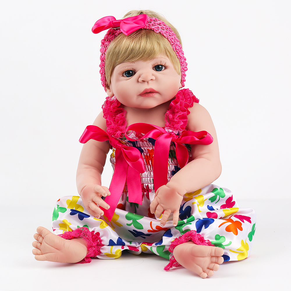 NPKDOLL Reborn Baby Doll Full Vinyl Red Romper Blonde Hair Wigs 22 inch Lovely Girl Christmas Gift Educational Fashionable Toys kaydora american girl doll reborn baby 18 inch full vinyl long blonde curly hair red dress fashion cute lovely doll reborn bebe