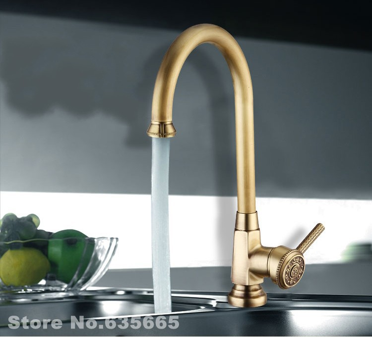 Luxury Antique Faucet Kitchen Bathroom Vessel Sink Mixer Tap Hot And Cold Water Swivel Br Sanitary