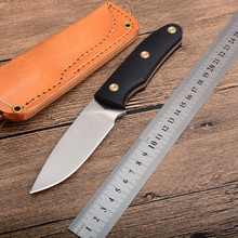 Top quality fixed blade knife AUS-10 Blade G10 handle tactical hunting knife camping survive knives hand tools Leather sheath lw hunting knife fixed blade vg 10 blade g10 handle outdoor camping survival rescue knives 59 hrc hardness straight and k sheath