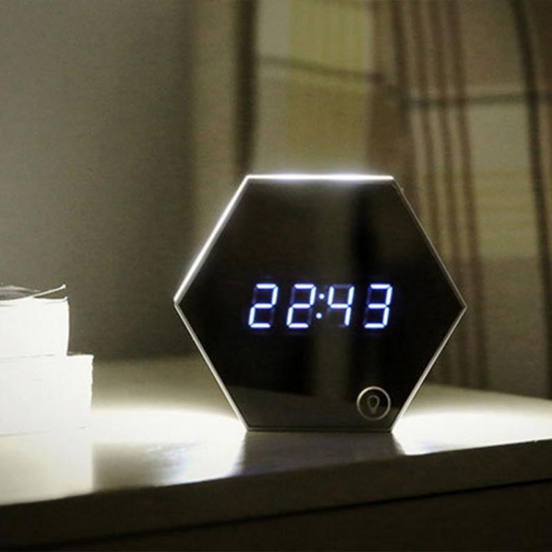 mirror alarm clock usb charging led table lamp brightness thermometer function digital clocks. Black Bedroom Furniture Sets. Home Design Ideas