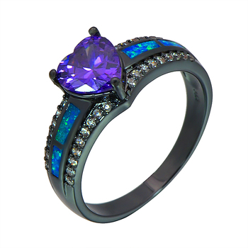 Blue Fire Opal Heart Ring Fashion Black Gold Filled Jewelry Wedding Gift Rings For Women RJL170508010
