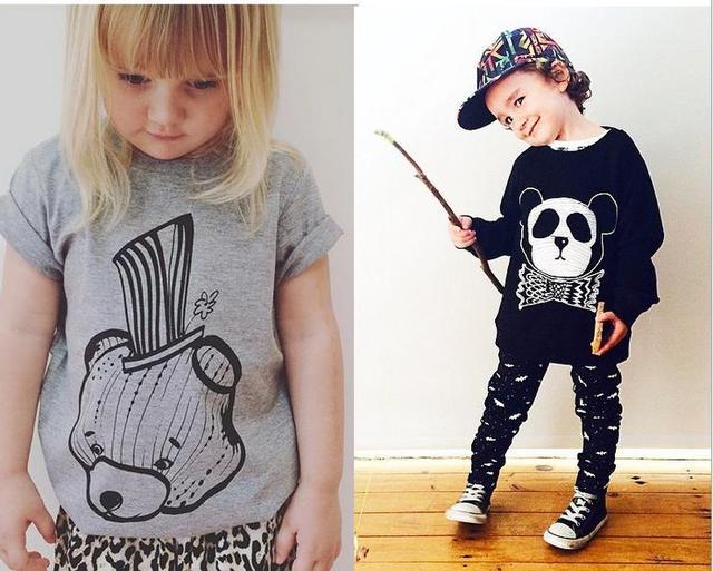 Ins * mais novo 2015 unisex bebê crianças urso padrão camisolas de algodão menino menina outono primavera top hoodies preto cinza frete grátis