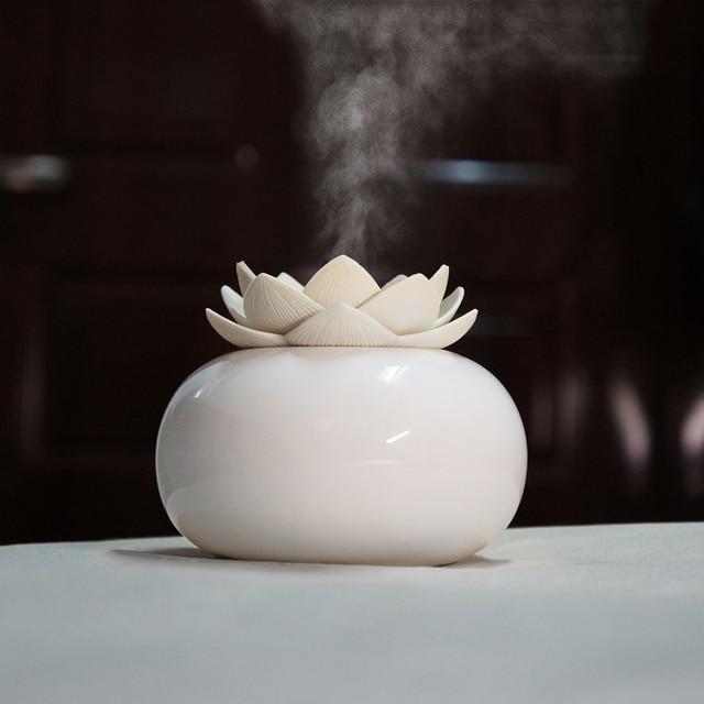 Humidificador de Aroma ultrasónico de cerámica, difusor de aire de 200ML, purificador de loto sencillo, atomizador, difusor de aceites esenciales