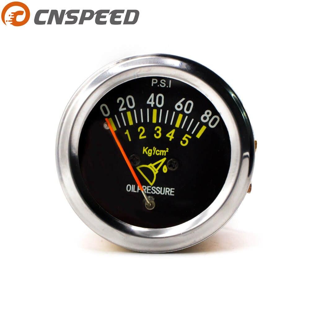 Livraison Gratuite CNSPEED 52mm 2 pouces De Voiture Mécanique de Pression D'huile Jauge 0-80 PSI de Pression D'huile Capteur De Voiture indicateur Jauge YC101133
