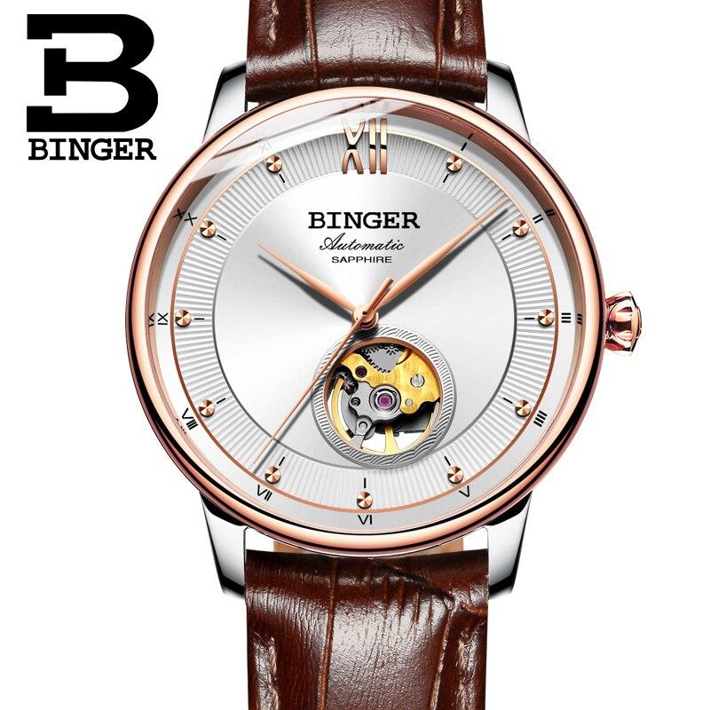 Switzerland BINGER Watches Men Ultra-thin Japan 90S5 Automatic Movement Tourbillon sapphire Clock Mechanical Wristwatches B-1180