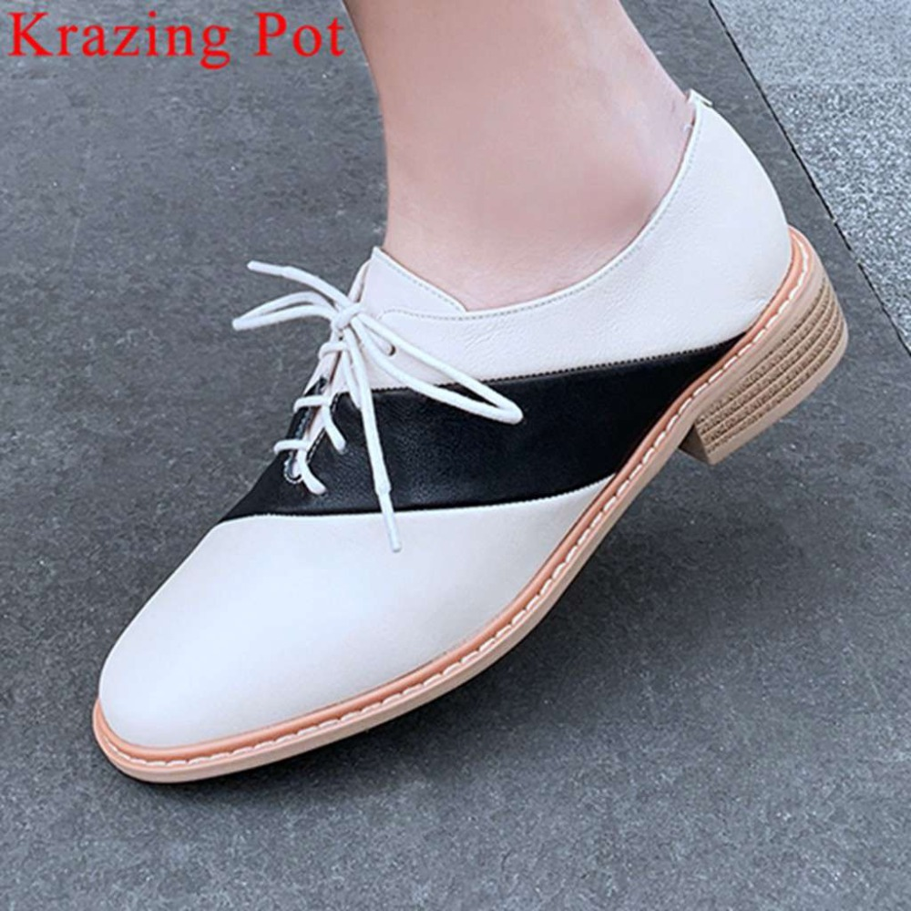 Krazing Pot brand full grain leather square toe lace up concise style low heels mixed colors preppy British school pumps L18Krazing Pot brand full grain leather square toe lace up concise style low heels mixed colors preppy British school pumps L18