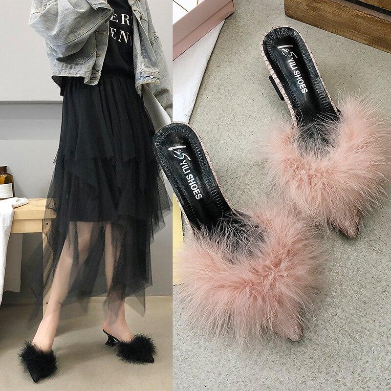 2019 New Women's Set Toe-shaped Non-slip High Heels Fashion Rubber Bottom Elastic Cloth Summer Shallow Fur Shoes