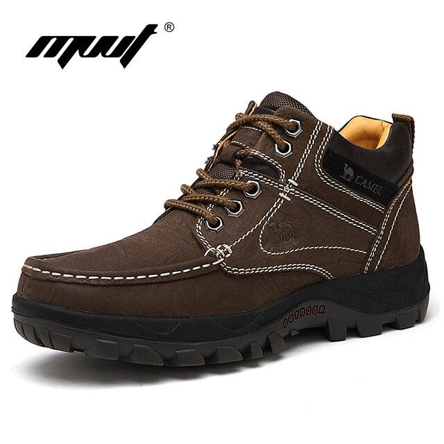 Marca de Alta calidad los hombres de Cuero Genuino botas mantener caliente los hombres botas de invierno zapatos Al Aire Libre Impermeables botas de nieve botas de Piel de Felpa Caliente botas