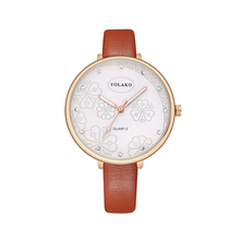 Women Watch Flower Pattern ladies belt Leather Fine Strap Ultra-thin Clock Quartz Diamond Casual Female Wristwatch Montre Femme