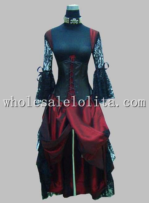 Готический черный и красный тайский шелк и кружева принцесса длинное платье - Цвет: dark red