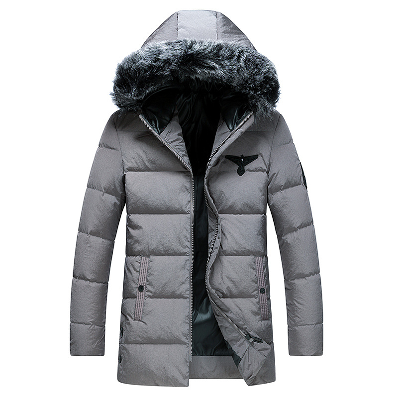 men 39 s down jacket winter white duck down coat casual Fur collar Medium and long section Winter warm jacket in Down Jackets from Men 39 s Clothing