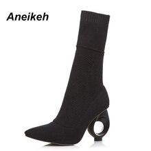 Aneikeh/ г.; модные дизайнерские эластичные сапоги-носки; вязаные сапоги до щиколотки на необычном каблуке с острым носком; цвет черный, абрикосовый; размеры 34-40