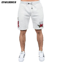 GYMLOCKER Mens Bodybuilding Shorts Over knee gyms Fitness slim fit Workout Cotton Male Fashion Casual Shorts MEN Brand Clothing