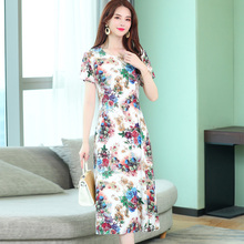 2019 Summer style women dresses casual print vintage long vestidos plus size dress robe femme