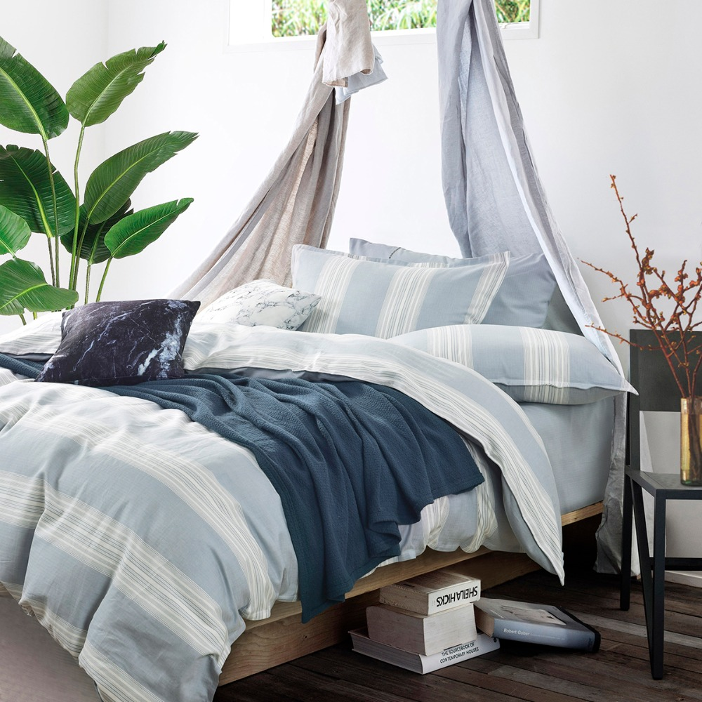 G.Craftsman Simple Pure Color 4Pcs Bedding Set 25%Flax 75%Cotton Linen Home Textile Bed Quilt Cover Flat Sheet Pillowcase Lazy
