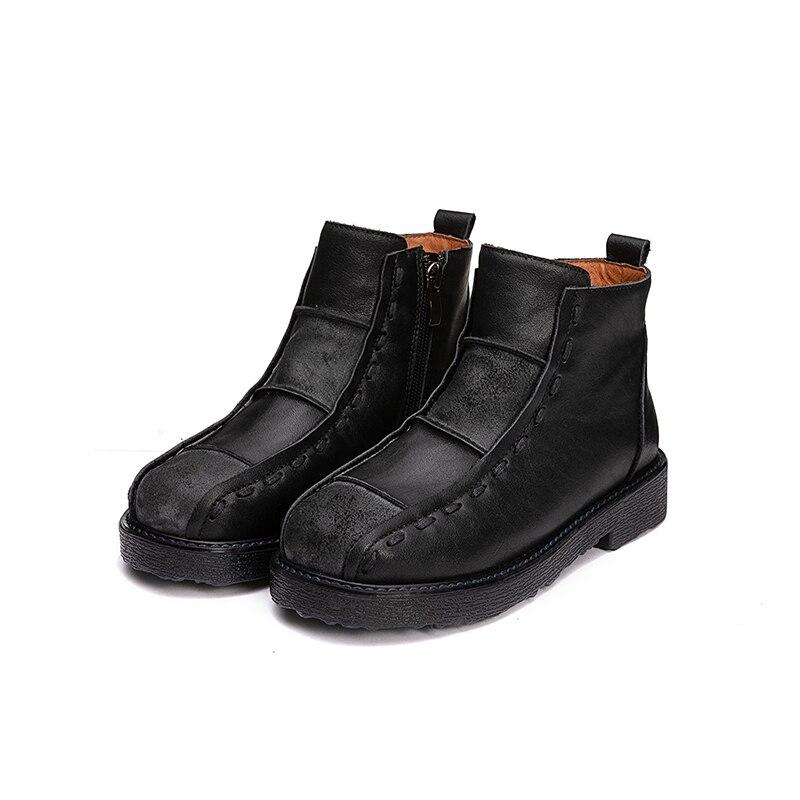 Femmes Carrés Bout 2018 Dames Rond marron Style Automne Noir Vallu Cuir Véritable Talons Bottines En Bottes Main Chaussures Vintage DHWE2I9