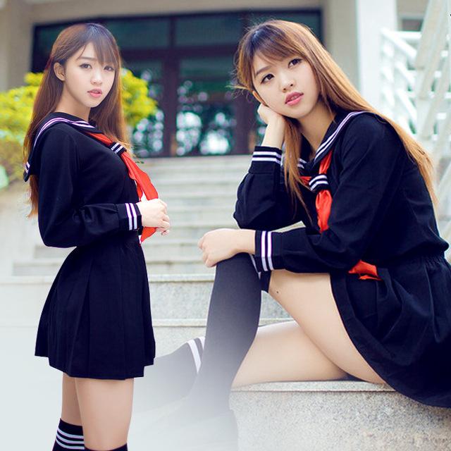 2 Unids/set JK Japonés Marinero Uniforme Escolar de Clase de La Escuela de Moda Uniformes Escolares para Niñas Cosplay Traje de Marinero de la marina Más Tamaño XL