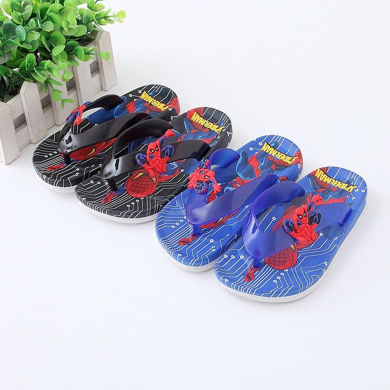 Children boy summer PVC beach Slippers soft cartoon mickey spiderman Non-slip flip flop home bath shoes 2-10years XQ01 цена 2017
