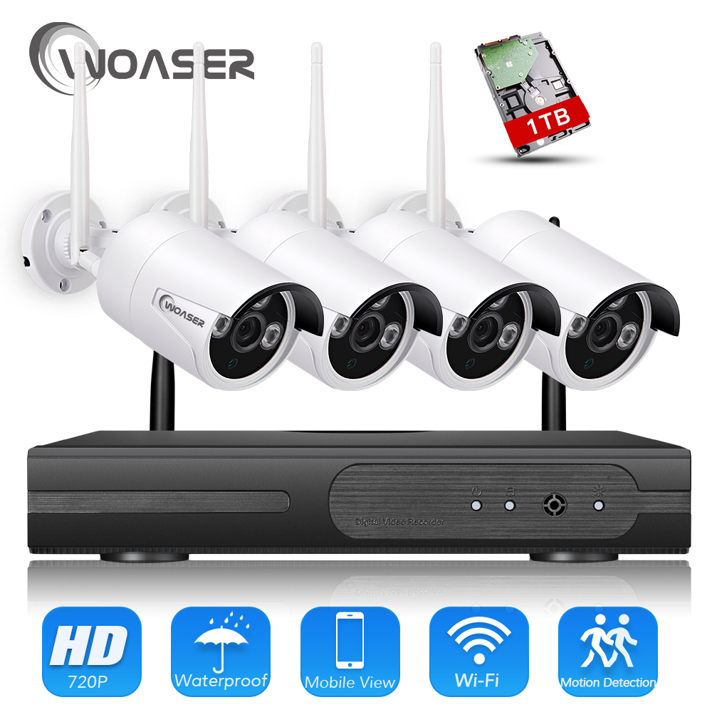 WOASER Plug and Play Wireless NVR Surveillance Kit P2P 720P 1.0MP HD Outdoor IR Night Vision Security IP Camera WIFI CCTV System plug and play 4ch 960p wifi nvr kit wireless cctv onvif ip camera system outdoor ir night vision security surveillance for home