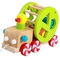 Pato de madeira Reboque Enigma Blocos de Construção de Brinquedos Educativos De Madeira Do Bebê Pato brinquedos de Corda Puxar Puxar Carrinho de Brinquedo para 1-3 Anos velho