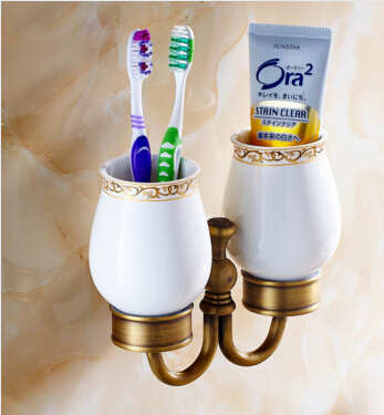 ФОТО European Style Double Cup Holder Toothbrush Holder with Ceramic Cups antique Brass Solid Brass Rack Tumbler Holder Wall Mounted