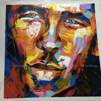 Thick Art Wall  artwork Humor Man Cry Hand painted Wall art on Canvas Portrait oil painting Modern canvas art for living room