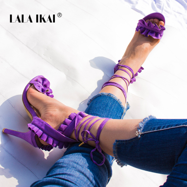 LALA IKAI frauen Lace Up High Heels Spitz Verband Sandalen Mode Flock Damen Thin Ankle Strap Schuhe 900C1101 -5