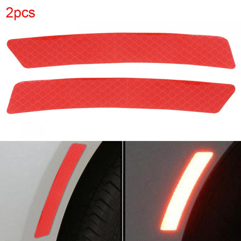 2x Red Silvery Auto Reflector Car Sticker Collision Avoidance Warning Decoration