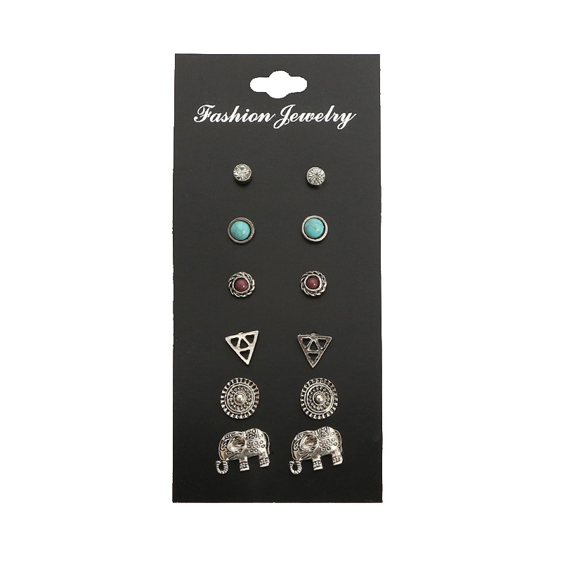 6 Pairs/Set Trendy Elephant Crystal Resin Stud Earrings Set for Women Silver Color Piercing Earrings Jewelry Brincos