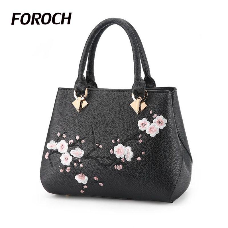 купить FOROCH Women Bag Zipper Embroidery Handbag Fashion Flower Ladies Evening Tote Bag Top-handle Bags Female Messenger Bags Sac 350 недорого