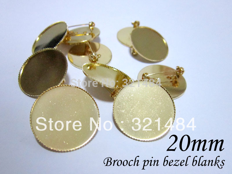 Bulk 200piece/lot 20mm cameo setting gold plated metal safety pin brooch bezel blanks, brooch base