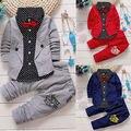 3 шт. Малышей Мальчики Одежда Детские Рубашки Топы + Длинные Брюки Костюмы Джентльмен Комплект Одежды