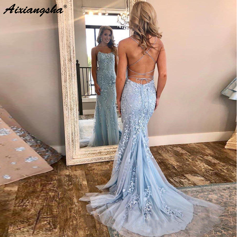 New Style 2019 Spaghetti Strap Backless Pageant Formal   Dress   Appliques Tulle Sky Blue Mermaid   Prom     Dresses