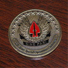 Free Shipping 50pcs/lot,U.S. Army Special Operations Command Sine Pari Challenge Coin. 44*3mm Brass Challenge Coin pari