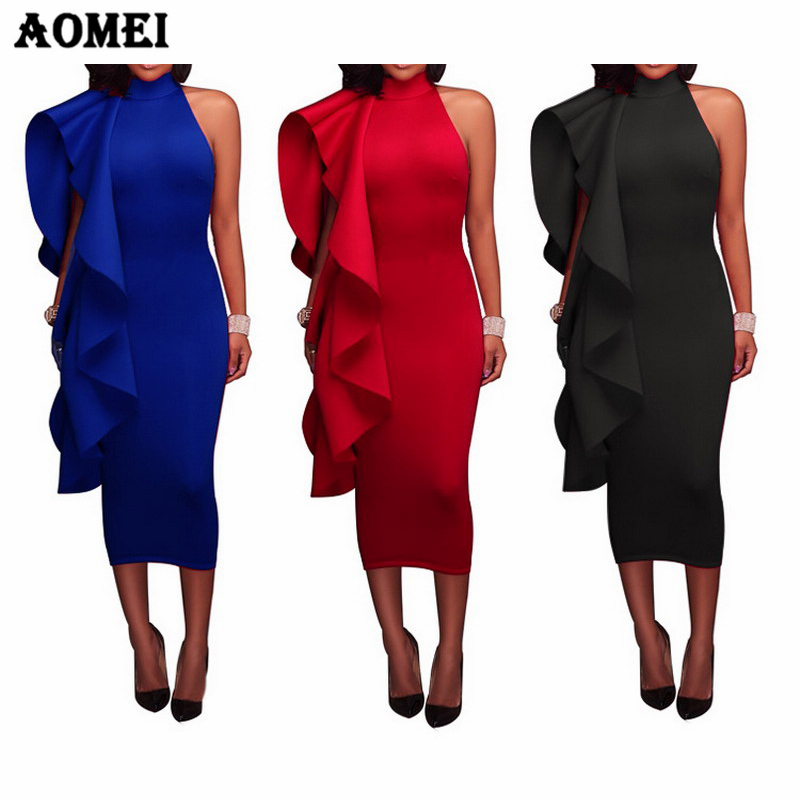 Red Christmas Party Dress For Women Elegant Evening Clubwear Slim Blue Black Sexy Tight Vestido Dinner Date African Dresses