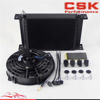 "25 Row AN8 Engine Oil Cooler + 7"" Electric Fan Kit Universal Fit