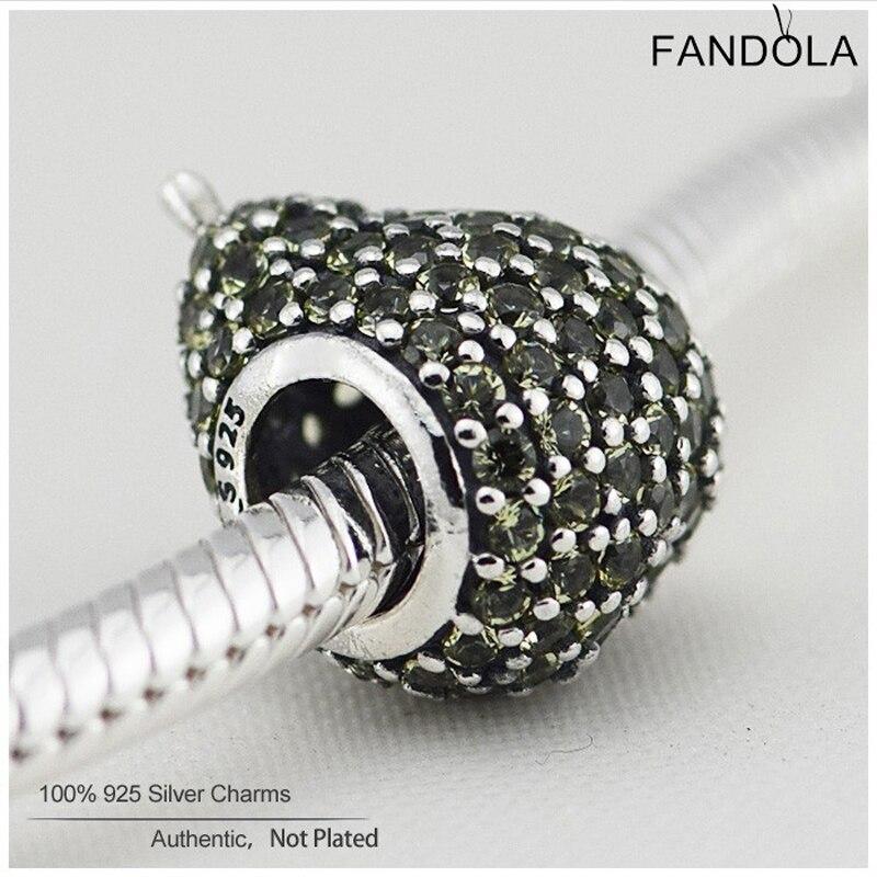 Genuine FANDOLA 925 Sterling Silver Pear Light Green Crystal Charms Beads DIY Jewelry Making Fits Pandora Bracelet Berloque